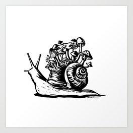 Mushroom Snail Linocut Art Print