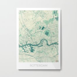 Rotterdam Map Blue Vintage Metal Print