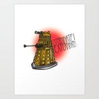 dalek Art Prints featuring Dalek by Caragh Brooks