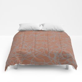 Slate Violet Gray SW9155 Thick Hand Drawn Scribble Mosaic Pattern on Cavern Clay SW 7701 Comforters