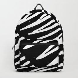 Black and white brush stroke feathers pattern 2 Backpack