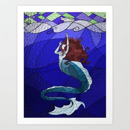 Primeval Mermaid (blue) Art Print