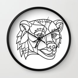 Grizzly Bear Head Mosaic Black and White Wall Clock