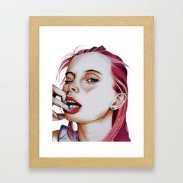Nail Biter / Pink Hair Framed Art Print