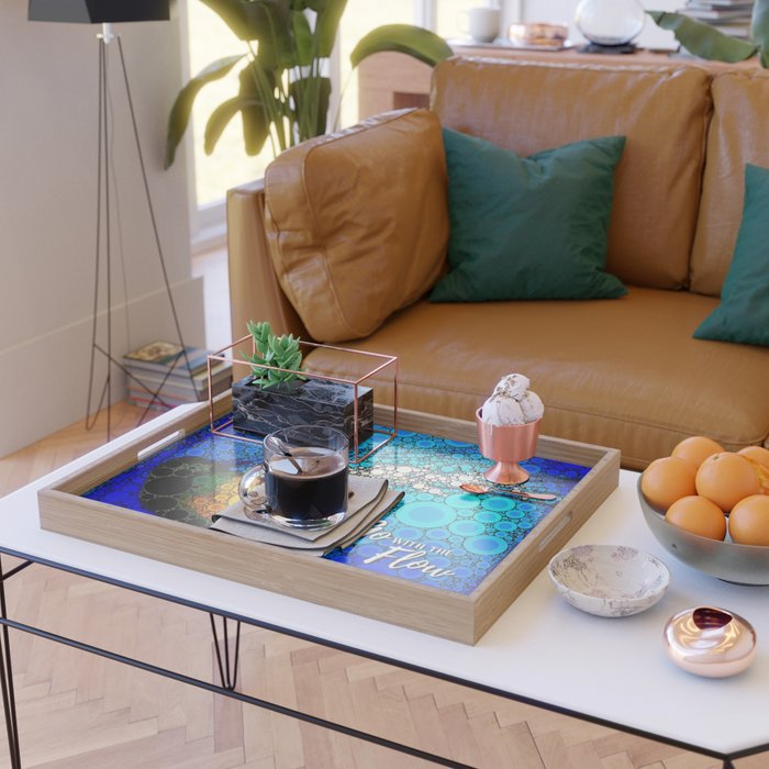 Ocean jellyfish photo bubble art   Go with the flow Serving Tray