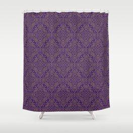 Purple and Gold Bandhani Bandhej Indian Sari Print Shower Curtain