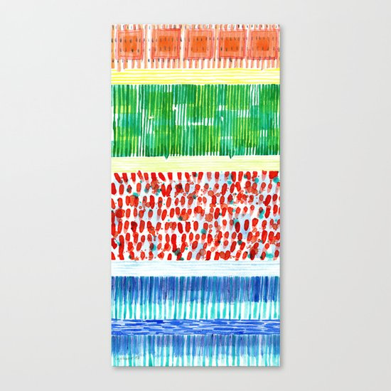 Joyful Stacked Patterns in High Format Canvas Print