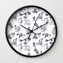 Sketch art with fairy birds and animals Wall Clock