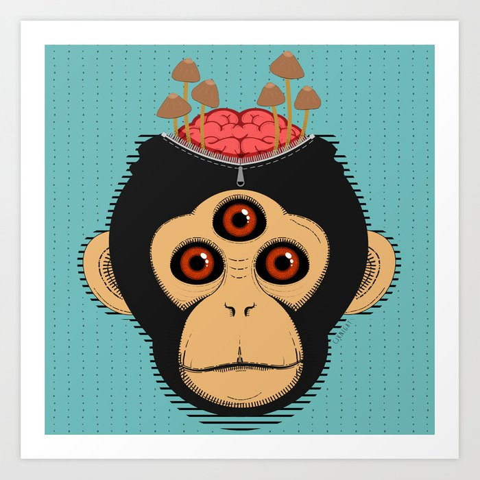 3rd Eye Chimp & Psychedelic Mushrooms Art Print