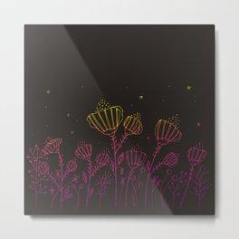 Rainbow Flowers Doodle Art Metal Print