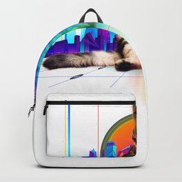 Psychedelic Vaporwave Catzilla with rainbow lasers from eyes print Backpack