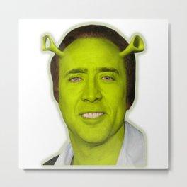 Nicolas Shrek Cage | Funny Meme | Nic Cage Face Shirt | Gift For Men, Woman Metal Print