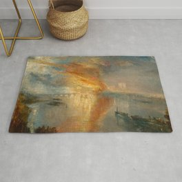 William Turner - The Burning of the Houses of Parliament, 1835 Rug