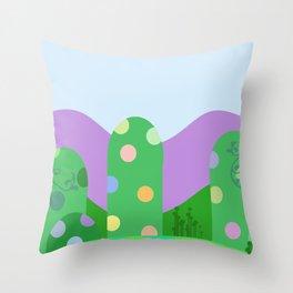 Cute landscape green  Throw Pillow