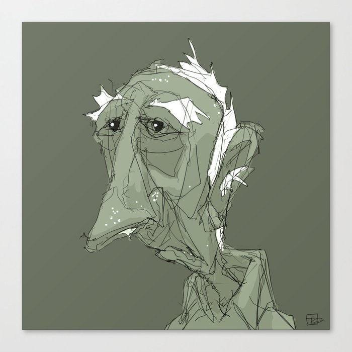 Old Man in Green Canvas Print