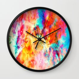 Colorful Abstract Nebula Wall Clock