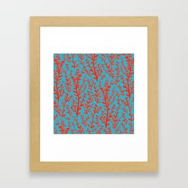 Turquoise and Red Leaves Pattern Framed Art Print