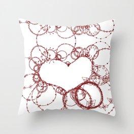 Circles make Heart Multi Design Line Art Throw Pillow