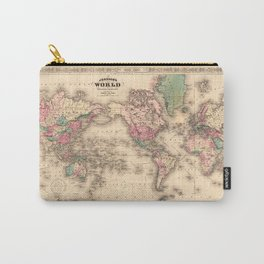 1861 World Map - Johnson's World on Mercators Projection Carry-All Pouch