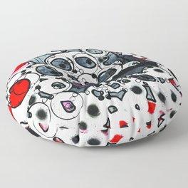 Original artwork mixed media - red, gray, black and white, ink, acrylic - 'Metadata' Floor Pillow