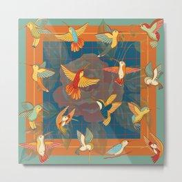 Hummingbirds in Orange Metal Print