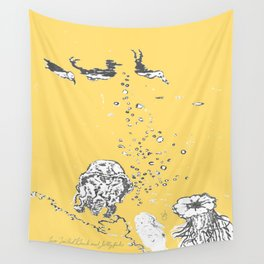 Two Tailed Duck and Jellyfish Pale Yellow Mellow Wall Tapestry