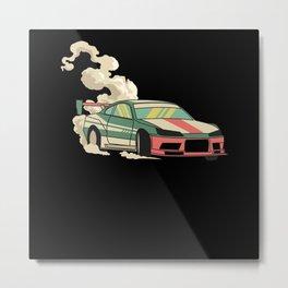 Drifting Retro Drifting Car Motif Metal Print