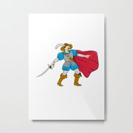 Musketeer Cape with Saber Cartoon Metal Print