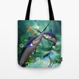 Awesome marlin with jellyfish Tote Bag
