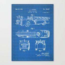 Fire Truck Patent - Aerial Fireman Truck Art - Blueprint Canvas Print