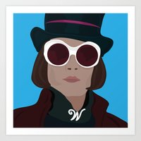 willy wonka Art Prints featuring willy wonka by Mariana Andrea