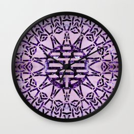 Double Happiness Symbol Amethyst and Marble Wall Clock