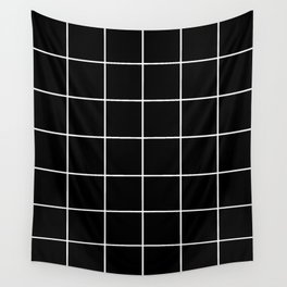 BLACK AND WHITE GRID Wall Tapestry