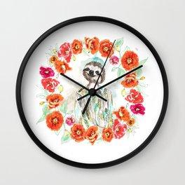 Sloth Floral Wall Clock