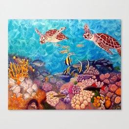 Zach's Seascape - Sea turtles Canvas Print