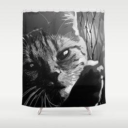 set your cat free vector art black white Shower Curtain