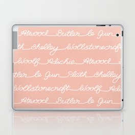 Feminist Book Author Surname Hand Written Calligraphy Lettering Pattern - Pink Laptop & iPad Skin