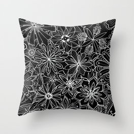 Floral Pattern Black and White Throw Pillow