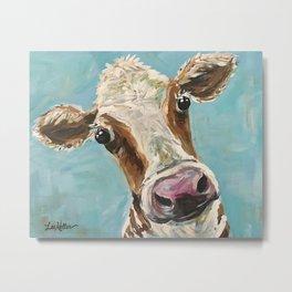 Cow Art Print, Up close cow art Metal Print