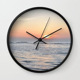 Calm waves at sunset on a dutch beach -- Pastel pink travel Art Print Wall Clock