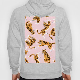 Cute tiger in the tropical forest hand drawn on pink background illustration Hoody