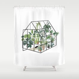 greenhouse with plants Shower Curtain