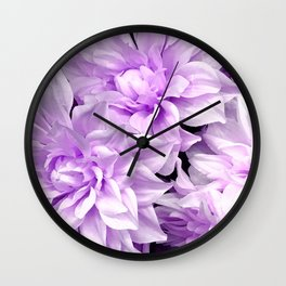 Pastel Lilac-Color Flowers Close-Up Art Photo Wall Clock