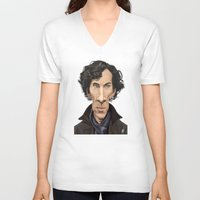 benedict V-neck T-shirts featuring Celebrity Sunday ~ Benedict Cumberbatch by rob art | illustration