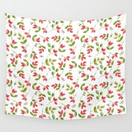 Rosehip and Bee Pattern Wall Tapestry