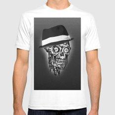 Elegant Skull with hat, B&W MEDIUM White Mens Fitted Tee