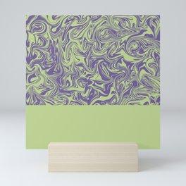 Liquid Swirl - Lettuce Green and Ultra Violet Mini Art Print
