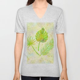 Tropical Leaf Watercolor Painting, Green Palm Tree Leaves Unisex V-Neck