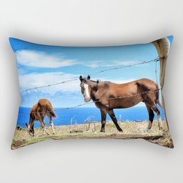 Horses against a blue sky Rectangular Pillow