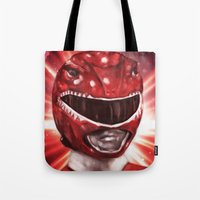 power ranger Tote Bags featuring Red Power Ranger by SachsIllustration